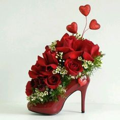 Red shoe & flowers
