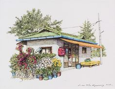 (Korea) A small store, a disappearing shop in a rural village by Lee Me Kyeoung ). ink on paper with a pen use the acrylic. Art And Illustration, Illustrations And Posters, Episode Backgrounds, Watercolor Architecture, House Drawing, Korean Art, Urban Sketching, Environmental Art, Art Sketchbook