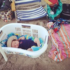 Baby at the beach SO smart, carry your bags & goodies in it on the way to the beach & let baby sleep in it when you get there!