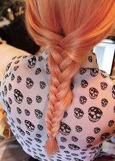 infinitebreakdowns: my sister braided my hair! .. oh yeah my hair is peach now