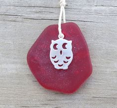 Beach Owl Red Sea Glass Necklace Ruby Red by WaveofLife on Etsy, $18.00