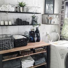 yupinokoさんの、Bathroom,IKEA,DIY,サニタリー,タオル収納,インダストリアル,見せる収納,ワイヤーバスケット,おはようございます♡,男前,セルフリノベーションについての部屋写真