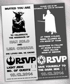 Star Wars dask side/light side themed wedding invites