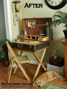 suitcase desk from a closet trunk, diy, how to, painted furniture, repurposed … – UPCYCLING IDEAS – DIY Möbel/ Furniture – Diy Furniture Videos, Diy Furniture Table, Furniture Projects, Furniture Plans, Kitchen Furniture, Rustic Furniture, Painted Furniture, Home Furniture, Furniture Design