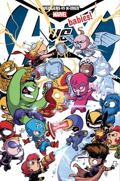 Skottie Young comic book cover featuring xmen and avenger babies. Too cute!
