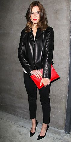cropped cigarette pants, leather jacket, and scarlet clutch - pretty much want this whole outfit!