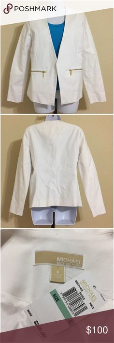 Michael Kors Blazer Size 8 Michael Kors Women's Blazer Size 8 White Color • Blue Top Underneath Is For Illustrative Purposes Only. It Is Not Included Lined 2 front Pockets With Gold Color Zip Closure Open Front Dry Clean Shell 97% Cotton 3% Spandex Lining 100% Polyester Armpit to Armpit Approx. 21 Inches Length From Rear Collar Approx. 24 Inches Shoulder Approx. 16 Inches Sleeve from Shoulder Seam Approx. 24 Inches Compare Measurements To Your Own Well Fitting Garment To Ensure A Great Fit…