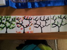 fingerprint trees - My little man and I did these: I painted the outline, and then used his fingers to do the leaves! We did all the seasons: summer, autumn, winter, spring, but it would work just to do one. We gave them to his nan for Mothers day - and she loved them, of course!