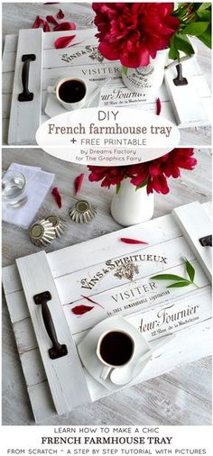 Learn how to make a shiplap inspired DIY French farmhouse tray from scratch, that you can use all over your home both for its aesthetics but also for its great functionality - by Dreams Factory for The Graphics Fairy