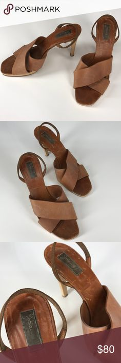 """Joie Leather Strappy Heels Women's Size 39 / US9 Beautiful brown heels by Joie! Excellent condition, but there are some scratches in the leather. The soles are scuffed as well, but not too bad. Heel points are in excellent condition. These would look great with a pair of skinny jeans or a dress! Heels are approximately 4"""" tall. Shoes Heels"""