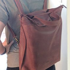 3e73bcff2 HandMade LEATHER BACKPACK   Citi Backpack   Handcrafted leather Rucksack on  zipper   Brown leather bag