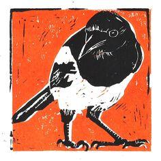 Ellen van Putten - Ekster - linoprint Mobile Art, Kitchen Art, Prints, Movie Posters, Film Poster, Popcorn Posters, Printed, Film Posters, Art Print