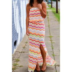 Perfect Summer Maxi!!  Wholesale Noble Strapless Multicolored Chevron Printed Maxi Dress For Women Only $9.05 Drop Shipping | TrendsGal.com