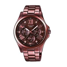 Casio Sheen Ladies' Brown Stainless Steel Bracelet Watch - Product number 3750930
