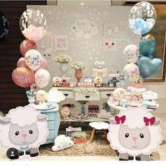 "4,587 curtidas, 59 comentários - @ideiasdebolosefestas (@ideiasdebolosefestas) no Instagram: ""Lindo chá de revelação by @funnykidsfestas. #ideiasdebolosefestas #chaderevelacao #charevelacao"" Baby Party, Baby Shower Parties, Baby Shower Gifts, Decoracion Baby Shower Niña, Gender Reveal Party Decorations, Baby Sheep, Reveal Parties, Baby Shower Printables, Baby Decor"