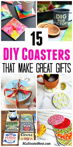 15 DIY Coasters- Want a simple homemade gift idea? Why not give a set of fun DIY coasters! Check out these 15 awesome DIY coaster ideas! Homemade Coasters, Diy Coasters, Diy Crafts For Kids, Gifts For Kids, Kids Diy, Fun Diy, Easy Diy, Diy Gifts To Make, Coaster Crafts