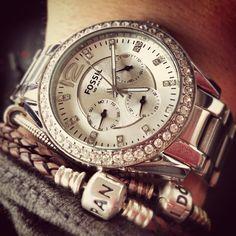 Fossil boyfriend watch and the Pandoras. Cute Jewelry, Jewelry Gifts, Jewelry Box, Jewlery, Vintage Jewelry, Jewelry Watches, Fossil Boyfriend Watch, Fashion Jewelry, Women Jewelry