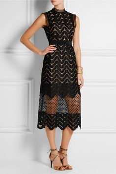 Self-Portrait|Embellished guipure lace midi dress|NET-A-PORTER.COM