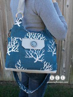 Concealed Carry Purse in Dark Blue and Gray, Handbag, GCCginascraftcorner