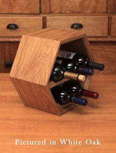 Custom Hardwood Wine Rack / Wine Storage - Five-Bottle Hanging/Wall Wine Rack - Wedding Gift Ideas
