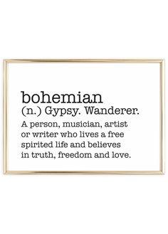 Poster   Typography: Definition of bohemian   Scandinavian Wall Art   www.talesbyjen.com