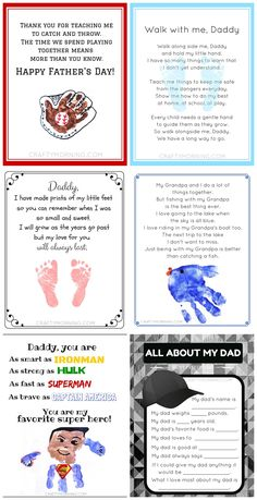 Lots of free Father's Day printables for the kids to make dad or grandpa! Love all the handprint and footprint craft ideas