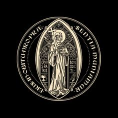 T-shirt Front (but rewers of the medal) translation from latin: C.S.P.B.: CRUX SANCTI PATRIS BENEDICTI (The cross of our Holy Father Benedict) C.S.S.M.L.: CRUX SACRA SIT MIHI LUX (May the Holy Cros...