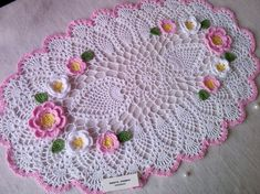 Pattern doily Crochet lacy pineapple Oval table Floral doily book pdf Rug with flower Table centerpiece Textured modern crochet tutorial Free Crochet Doily Patterns, Crochet Doilies, Crochet Flowers, Hand Crochet, Crochet Stitches, Free Pattern, Crochet Wall Art, Crochet Hooks, Round Table Centerpieces