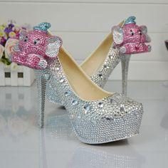 Rhinestone Platform High Heels Crystal Diamond Bridal Pumps Women Pearl Prom Shoes 4    https://www.lacekingdom.com/   Lace Kingdom: Everything You Need for #Weddings & Events