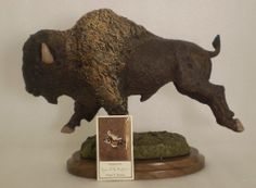 RARE 1996 DANIEL MONFORT BISON Western Americana Wild Animal SCULPTURE Buffalo  This Bison is running possibly from a predator on the plains of the Mid-West. Perfect for any boy's room, man cave, children's museum, school, etc. www.stores.ebay.com/bargainbarge