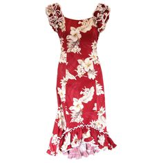 Chili Red Hawaiian Meaaloha Muumuu Dress with Sleeves