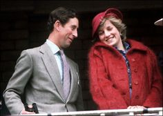 Diana At Aintree: The Prince and Princess of Wales at the Aintree racecourse for the Grand National, April She wears a red mohair maternity coat. (Photo by Jayne Fincher/Princess Diana Archive/Getty Images)