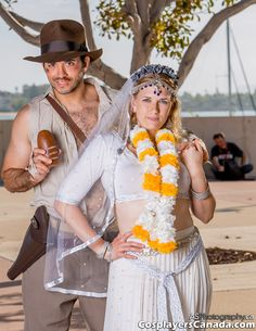 Indy's triumph! Celebrating the 30th Anniversary of INDIANA JONES AND THE TEMPLE OF DOOM at San Diego ComicCon 2014: Lito Velasco as Indiana Jones and Jennifer Velasco as Willie Scott. Photo courtesy of Andras Schneider.  #Indy #Willie #cosplay #SDCC2014