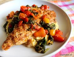 Grilled Blackened Catfish and Grits with Spinach and Tomatoes from The Hungry Goddess