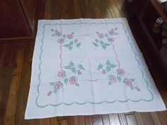 Hand Embroidered and Sewn Table Cloth Cover Pink Flowers from saltymaggie on Ruby Lane