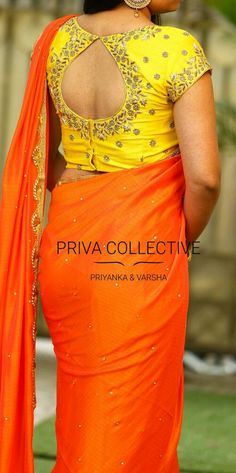 PV 3567 : Orange and YellowPrice : <br> Shine bright in this orange stone studded chiffon sari finished with pearl and cut work zari border.Unstitched blouse piece - Yellow beads hand worked blouse piece as in the picture For Order 23 November 2017 Pattu Saree Blouse Designs, Fancy Blouse Designs, Bridal Blouse Designs, Blouse Back Neck Designs, Stylish Blouse Design, Hand Work Blouse Design, Designer Blouse Patterns, Blouse Models, Orange Stone