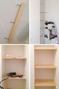 { DIY } how to build simple floating shelves (replace the corner squished-in she. - { DIY } how to build simple floating shelves (replace the corner squished-in shelving unit with cus - Custom Floating Shelves, Floating Shelves Bathroom, Glass Shelves, Diy Built In Shelves, Build Shelves, Diy Bathroom Shelving, Diy Closet Shelves, Plywood Shelves, Building Floating Shelves