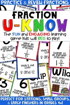 Students love playing U-Know games for fun REVIEW of fractions or for test prep. It's a perfect activity for any small group or station, and great for early finishers. Fraction U-Know is a fun learning game played similar to UNO except if you get an answer wrong, you have to draw two! Students will beg to practice fractions in this way! Covers equivalent and improper fractions, plus mixed numbers and more! Available in MANY other topics, too!
