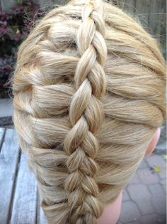 It's a French feather braid into a lace braid