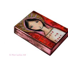 Love Me Dear  ACEO Giclee print mounted on Wood 25 x by FlorLarios, $10.00