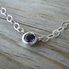 Blue Iolite Gemstone Necklace in Sterling Silver by onegarnetgirl