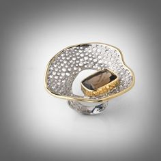 Ring | Gabriel Kabirski.  Sterling silver, Morion, Rhodium and Gold.