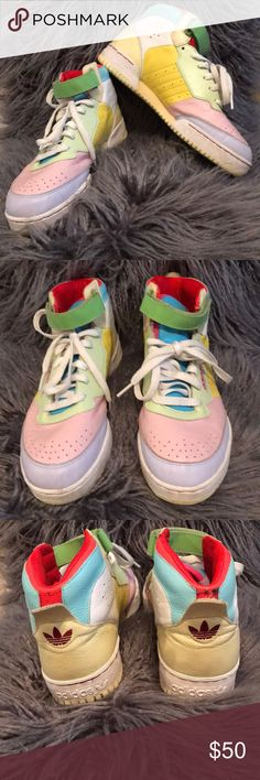 Vintage Adidas high tops Pastel colors, leather. GUC adidas Shoes Sneakers