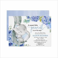 Boy baby shower, elephant floral blue watercolors invitation - tap, personalize, buy right now! Fiesta Baby Shower, Boy Baby Shower Themes, Gender Neutral Baby Shower, Floral Baby Shower, Baby Shower Invitations For Boys, Dumbo Baby Shower, Elephant Theme, Elephant Baby Showers, Baby Elephant