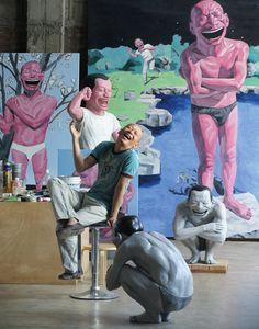 Portrait of Yue Minjun in his studio, Beijing, 2007