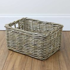 Rectangular Grey & Buff Rattan Deep Storage Baskets are available in 5 sizes and are perfect for general storage anywhere in the house. Rattan Basket, Wicker, Cube Storage Baskets, Rectangular Baskets, White Cottage, The White Company, Soft Furnishings, Natural Materials, Declutter