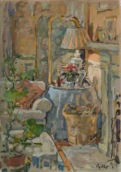 ◇ Artful Interiors ◇ paintings of beautiful rooms - Susan Ryder, RP NEAC (English) 'The Log Basket'