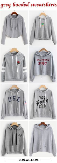 grey hooded sweatshirts 2017 - romwe.com