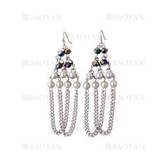 pendientes estilo borla con perla y cristal especial en cobre plateado -BREGG117459