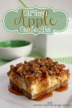Caramel Apple Cheesecake Bars  - A delicious fall dessert for any occasion! Click to print the recipe!